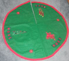 Vintage Christmas Tree Skirt ~ Handmade NOEL Green Felt w/ Red Fringed Trim. Circa, 1950's.