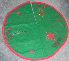Vintage Christmas Tree Skirt ~ Handmade NOEL Green Felt w/ Red Fringed Trim. Circa, 1950's.