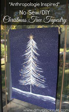 No-Sew DIY Christmas Tree Tapestry - Anthropologie Inspired - Easy DIY