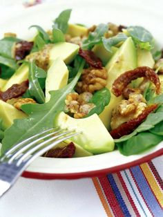 Walnut and avocado salad with warm mustard vinaigrette