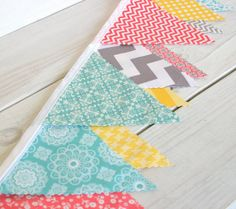 Bunting Fabric Banner Fabric Flags  - Aqua Blue, Yellow, Gray and Coral Chevron and Flowers - Ready to Ship