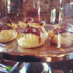 "Yum! ""Chocolate covered puff pastries"" - Gabriella C. from Elements  Stainless Steel Cake Stand 13"" puff pastries, cake stand"