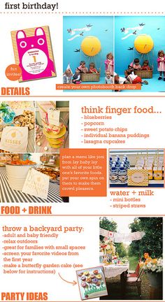 First birthday ideas. Love the idea of screening your favorite videos and pictures in the background.