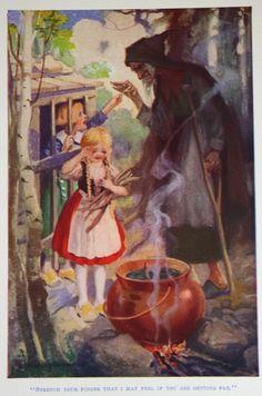 vintage fairy tale illustrations | Vintage Hansel and Gretel Illustration Fairy Tale Book Plate Print ...
