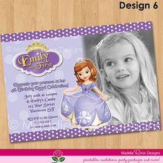 Sofia the First Invitation - Printable Birthday Party Invite - Custom Personalized Digital Photo Card 4x6 or 5x7 Sophia via Etsy