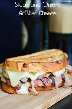 Use leftover steak from the grill to make this irresistible Steak and Onion Grilled Cheese recipe. Yum!