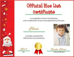 printable photo-personalized Nice List certificate from http://letterstokidsfromsanta.com/