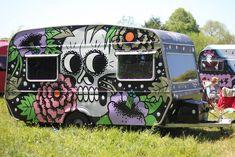 Sugar Skull painted travel trailer.
