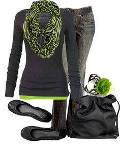 I like the green, grey, and black! I like this look