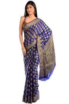 Royal Blue Banarasi Saree