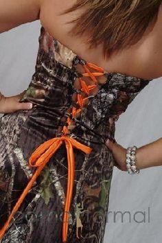 camo and orange wedding gowns