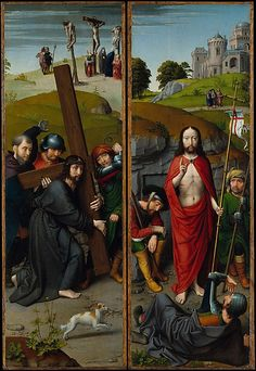 Christ Carrying the Cross, with the Crucifixion; The Resurrection, with the Pilgrims of Emmaus (c.1510)   Gerard David  (Netherlandish, Oudewater ca. 1455–1523 Bruges)