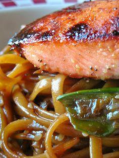 Basil: Asian Salmon Pasta with Snow Peas and Mushrooms