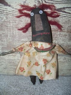 Primitive Black Raggedy Annie With Watermelon Necklace