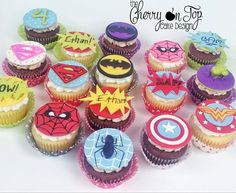 Super Hero Cupcakes ~ Spiderman, Superman, Batman, Hulk, Wonder Woman, Bat Girl, Spidey-girl, Super Girl ~ All modeling chocolate toppers ~ Chocolate mud cake with chocolate caramel frosting and white chocolate mud cake with italian sweet cream frosting ~ YUM!!