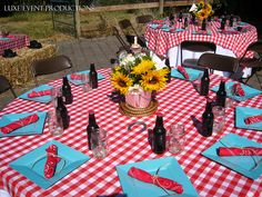 Country & western birthday party place setting with root beer, jelly jars, gingham table cloth, and bandana napkins.