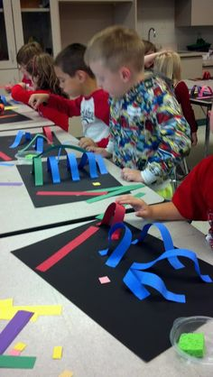 ART for 1170: 'Lines with Kinders' paper sculpture project.