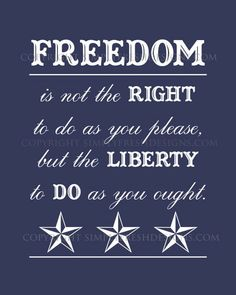 freedom is not the right to do as you please but the liberty to do as you ought!  I agree.....