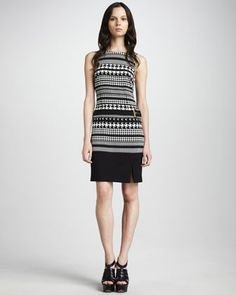 Laundry by Shelli Segal Houndstooth Jersey Dress - Neiman Marcus