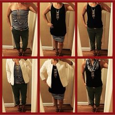 4 Items 6 outfits! Blaine Tube/skirt/infinity scarf, Fifth Ave Tee, Occasion Jacket, Coast Crop