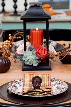 Chocolate turkeys adorn this Thanksgiving spread
