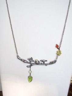Birds on branch necklace