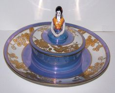 RARE Antique Art Deco Noritake Powder Box Tray Unusual Deco Girl | eBay