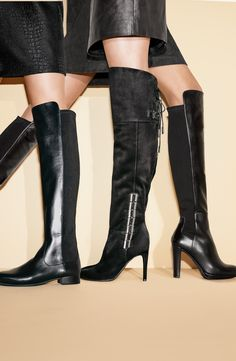 Love boot season, especially these leather over-the-knee styles.