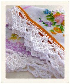 crocheted edge... hanki edg, designer purses, pretti edg, designer handbags, crochet edgings, knit, crochet patterns, fashion designers, scarf patterns