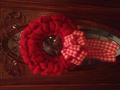 Plain little red burlap wreath :)