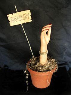 halloween decorations, body parts, potted plants, herbs garden, planter, blog, basil, halloween ideas, parti