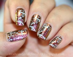 What I'm Currently Wearing On My Nails - Surreal Sunset With Twirls