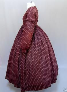 """Cotton print summer gown, ca 1850. Gathered bodice, hook & eye closure, bishop sleeves, 140"""" skirt, self fabric ruched trim. Argonaut Museum. [more views available]"""