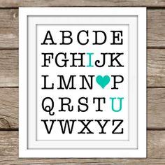 I Love You ABC Wall Art - DIY, Instant Download, Printable, Nursery Art, Home Decor, Play Room, Teal, Alphabet, Girl, Boy, Kids Room, Modern...
