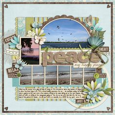 Pretty scrapbook layout for ocean pictures