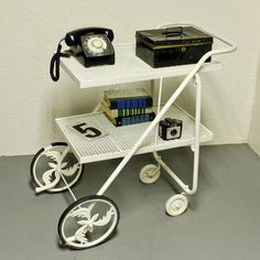 Vintage tea cart  serving cart  metal cart  kitchen by moxiethrift, $167.50
