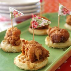 Mini Fried Chicken and Waffles | Recipes | Spoonful......use crispy chicken tenders to save time...serve with syrup