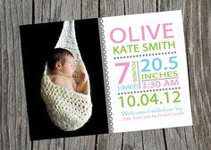 Customized Printable Baby Birth Announcement.  Subway Art Birth Announcement.. $10.00, via Etsy.