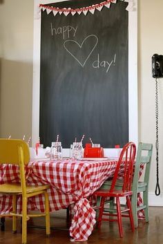 chalkboards, chalkboard walls, tablecloth, valentine day, chairs, parties, valentines day party, kid, valentine party