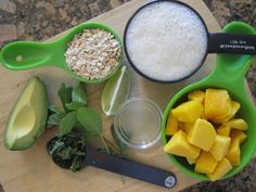 Ingredients for the Mango Mint Avocado Smoothie from my newest book S.A.S.S! Yourself Slim