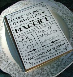 Wedding Invitations: Great Art Deco Hollywood. $100.00, via Etsy.