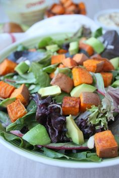 Sweet potato salad with lime miso dressing