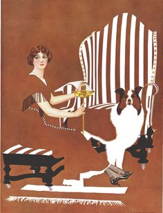 """Coles Phillips - woman in brown with collie - From """"A Young Man's Fancy"""" (1912) Fadeaway girl"""