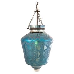 Gorgeous Pendent Light - stunningly etched blue mercury glass and brass pendant light.