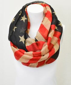 Black + Red American Flag Infinity Scarf