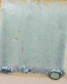 link has lots of photos and cone 6 glaze recipes:  Satin Matt Cone 6 Lt. Green                   Neph Syenite              41.8%  Gillespie Borate          10.4%  EPK                            12.5%  Whiting                       10.4%  Lithium Carb               6.2%  Silica                           12.5%  Titanium Dioxide        6.2%  Copper Carb                2%  Bentonite                     2%