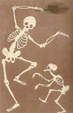 Vintage Japanese Skeleton postcard.