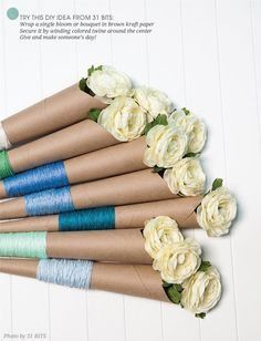 Wrap single blooms in brown kraft paper and secure with twine!