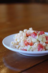 Delicious Macaroni Salad! Easy to make and great for summer BBQ's and potlucks.