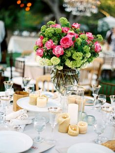 Love candles on the table. Especially if they're soy. #tables #wedding #outdoors #tables #reception #cream